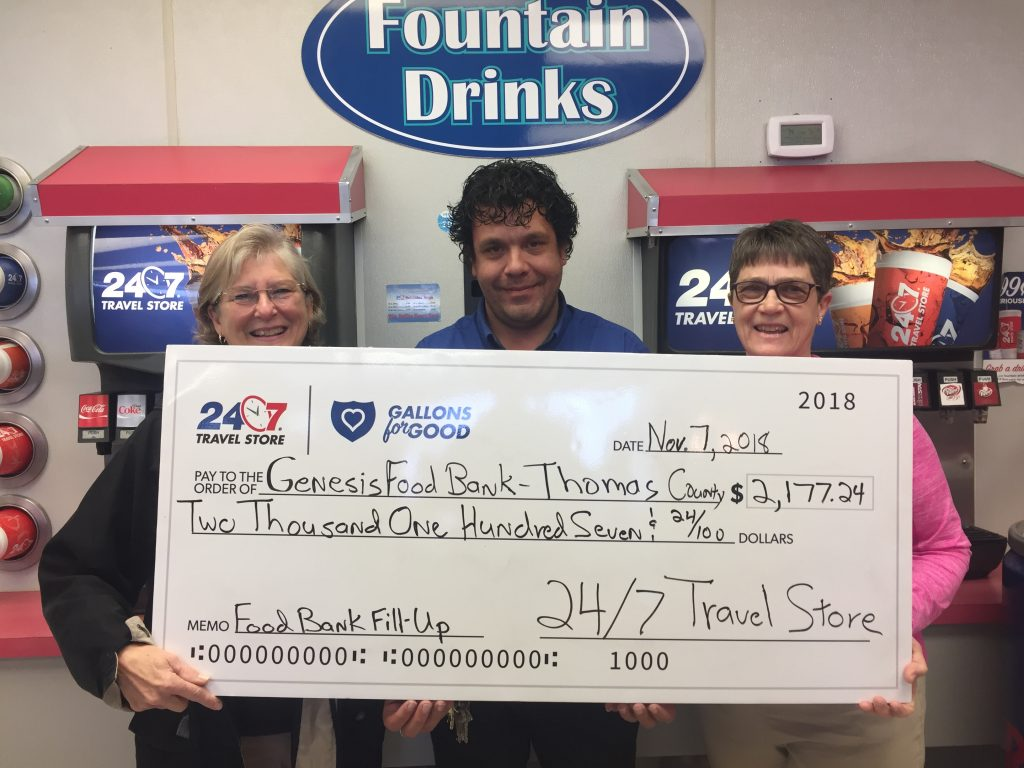 Genesis Food Bank of Thomas County receives donation from 24/7 Travel Stores