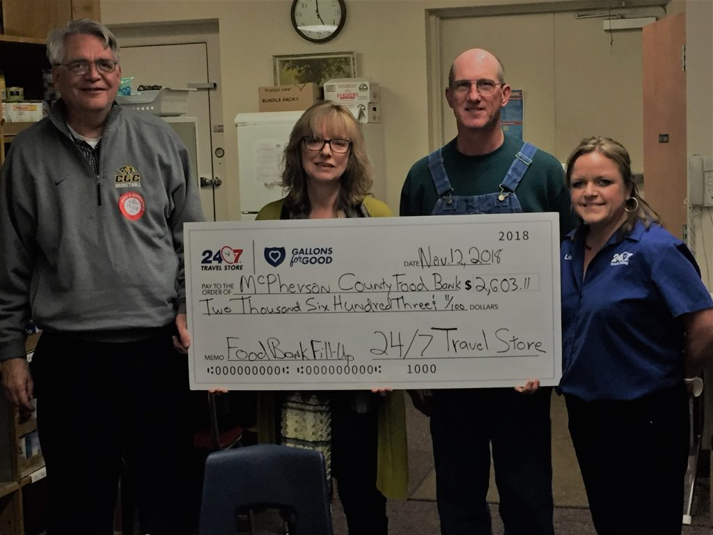 McPherson County Food Bank receives $2,630.11 from 24/7 Travel Stores