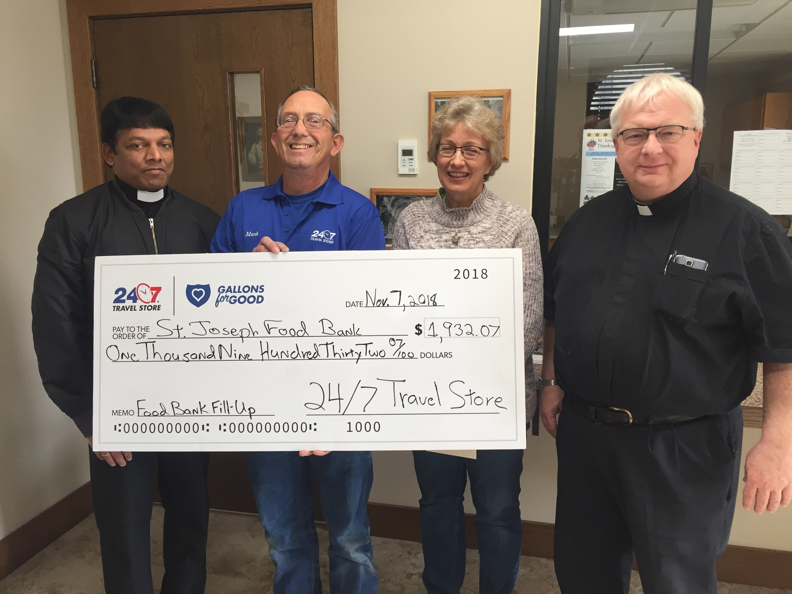 St. Joseph Food Bank receives $1,932.07 from 24/7 Travel Store's Food Bank Fill-Up fundraiser