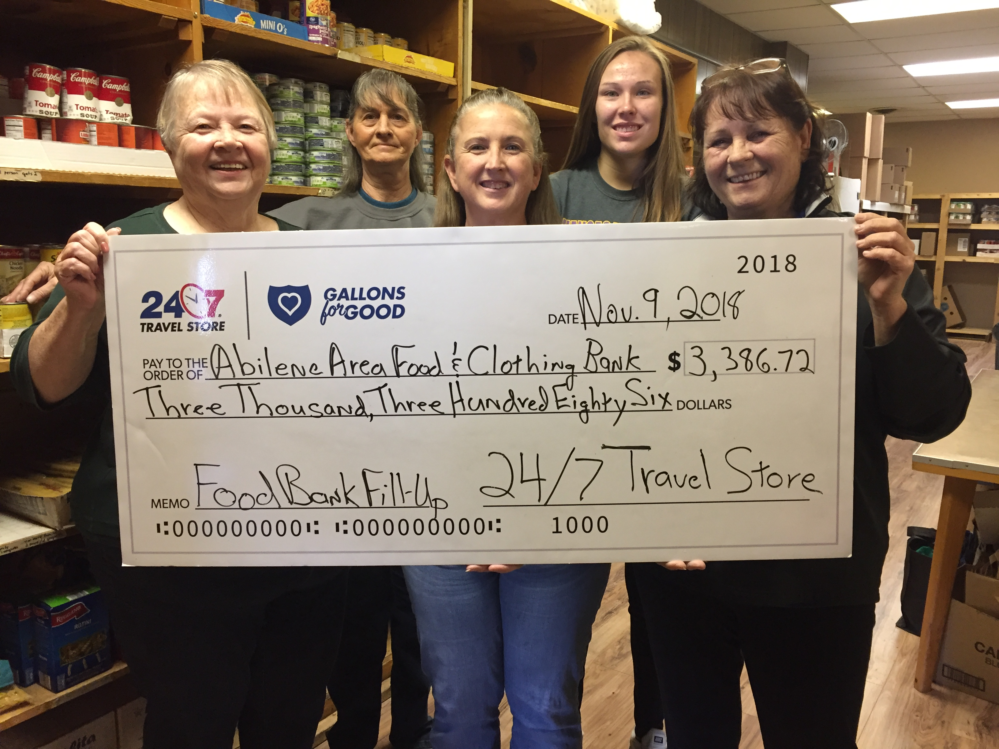 Abilene Area Food & Clothing Bank receives donation from 24/7 Travel Stores